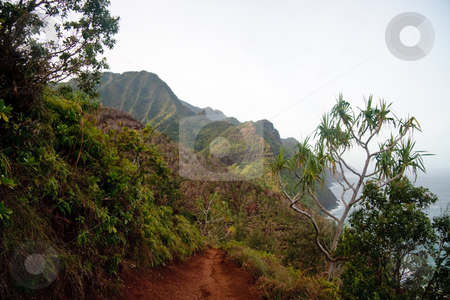 View of Na Pali coast stock photo, Kalalau trail path on the north coast of Kauai along Na Pali coastline by Steven Heap