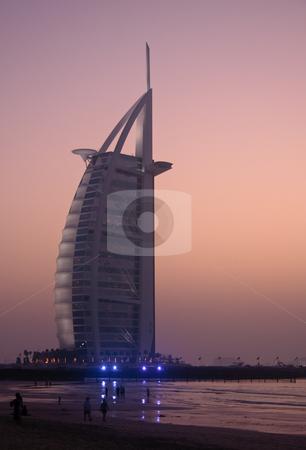 Burj al Arab Hotel in Dubai stock photo, Sunset over the Burj al Arab Hotel in Dubai by Steven Heap