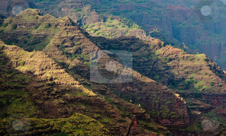 Craggy rocks in Waimea Canyon stock photo, Waimea Canyon on Kauai by Steven Heap