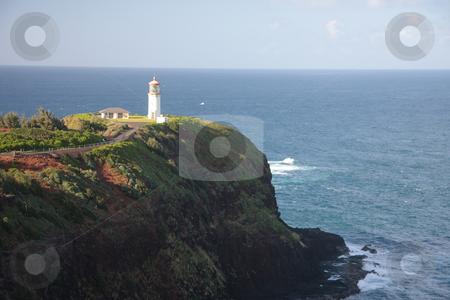 Kilauea Lighthouse in Kauai stock photo, CLose up of Kilauea Lighthouse off the coast of Kauai by Steven Heap