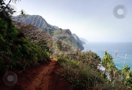 Kalalau trail on north coast of Kauai stock photo, View of Na Palu coast from the Kalalau trail by Steven Heap