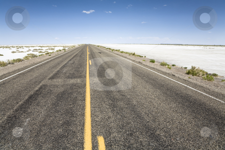 Road to the horizon stock photo, On the road to the Bonneville Speedway, Bonneville Salt Flats near Wendover, Utah, United States by mdphot
