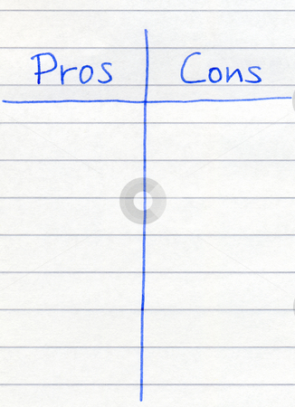 Writing the pros and cons. stock photo, Writing the pros and cons. by Stephen Rees