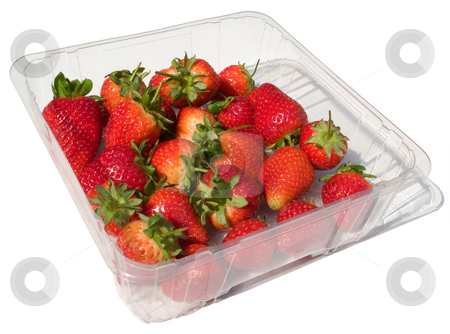 A punnet of fresh strawberries isolated on white. stock photo, A punnet of fresh strawberries isolated on white. by Stephen Rees