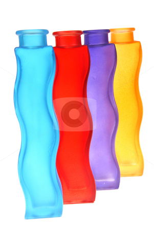 Bottle stock photo, Colourful bottles as decoration on white background by Jolanta Dabrowska