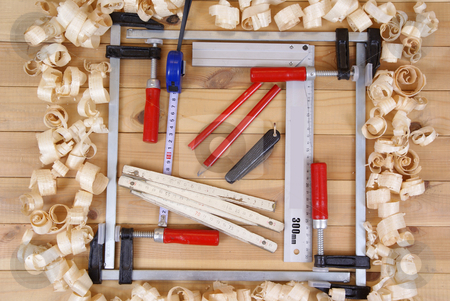 Technical equipment stock photo, Technical equipment and shavings wood on table by Jolanta Dabrowska