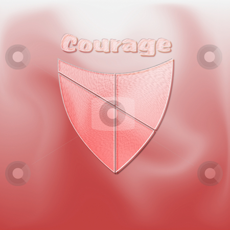 Shield of Courage stock photo, The concept of courage illustrated with a shield on red - a raster illustration. by Karen Carter