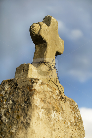 Concrete Cross stock photo, Rustic concrete cross on a cemetary marker by Scott Griessel