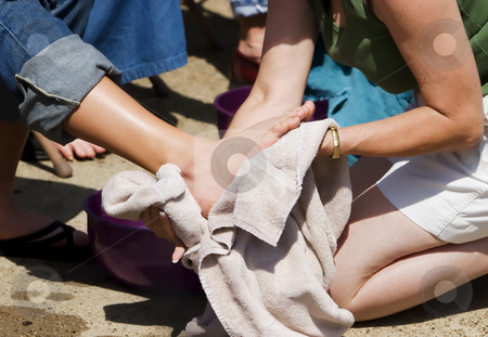 Washing Feet stock photo, Detail from Christian ceremony of washing feet by Scott Griessel