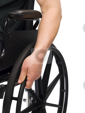 Hand on wheel chair stock photo, Hand on wheel chair with white background by John Teeter