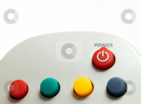 Power button stock photo, Closeup of power button on a remote control. by Sinisa Botas