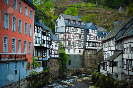 Monschau Germany stock photo, Houses and river in Monschau Germany by Jaime Pharr