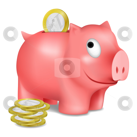 Piggy bank stock vector clipart, Piggy bank and euro coins, vector illustration by Laurent Renault