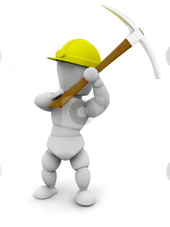 Person with pick axe stock photo, 3D render of someone with a pickaxe by Kirsty Pargeter