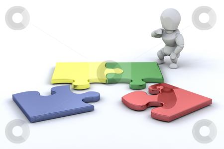 Problem solving stock photo, Person connecting puzzle pieces by Kirsty Pargeter