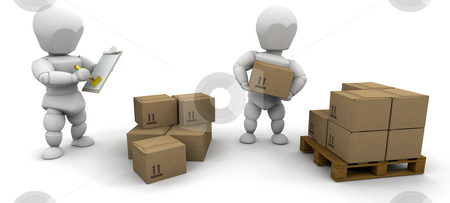 Stacking boxes stock photo, Workers stacking boxes onto a pallet by Kirsty Pargeter