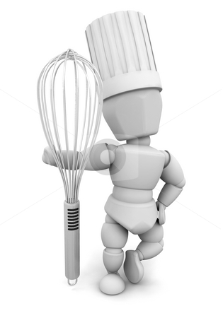 Chef with whisk stock photo, 3D render of a chef with a whisk by Kirsty Pargeter