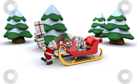 Santa and his sleigh stock photo, Santa with a sleigh full of presents by Kirsty Pargeter