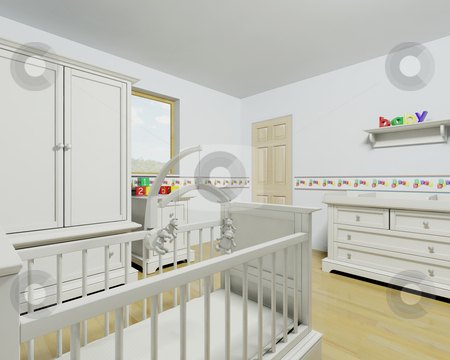 Nursery interior stock photo, 3d render of a contemporary childrens nursey interior by Kirsty Pargeter