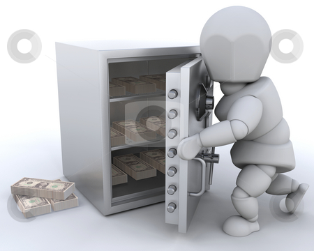 Stashing money stock photo, 3D render showing someone stashing money in a safe by Kirsty Pargeter