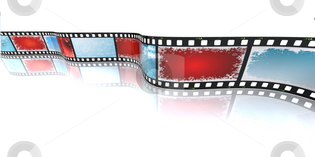 Christmas filmstrip stock photo, 3D render of a filmstrip with Christmas backgrounds by Kirsty Pargeter