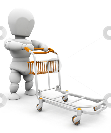 Person with luggage trolley stock photo, 3D render of someone pushing a luggage trolley by Kirsty Pargeter