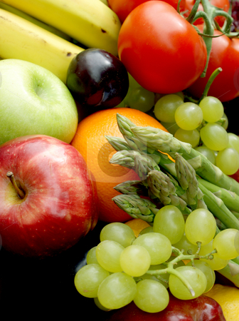 Fruit and vegetables stock photo, Various fruit and vegetables by Kirsty Pargeter