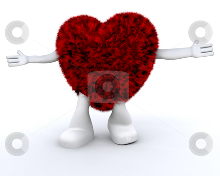 Furry heart dude stock photo, Cute furry heart character by Kirsty Pargeter