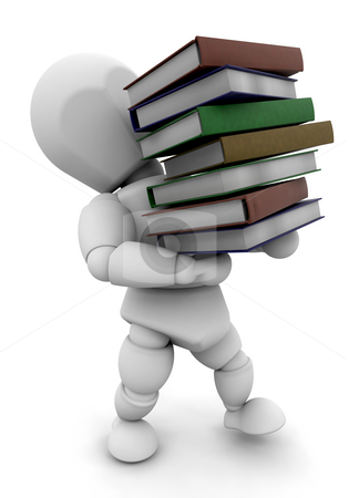 Back to school stock photo, 3D render of someone carrying a stack of books by Kirsty Pargeter