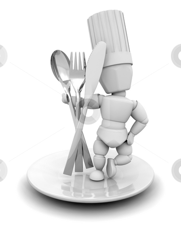 Chef with cutlery stock photo, 3D render of a chef with cutlery by Kirsty Pargeter