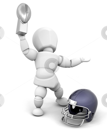 American football champion stock photo, American football player holding up the winners trophy by Kirsty Pargeter