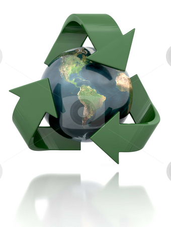Recycling stock photo, Globe in a recycling icon by Kirsty Pargeter