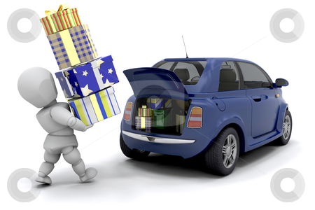 Christmas shopping stock photo, Someone loading gifts into the boot of a car by Kirsty Pargeter