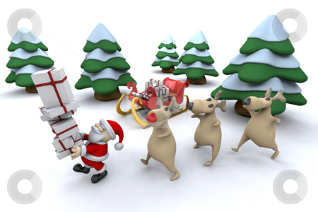 Santa with his reindeer stock photo, Santa and his reindeer by Kirsty Pargeter