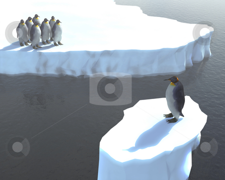 Global warming stock photo, One penguin stuck on an iceberg on its own by Kirsty Pargeter