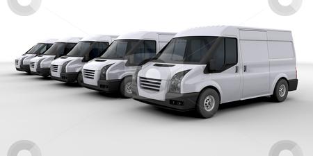 Fleet of delivery vans stock photo, 3D render of a fleet of delivery vans by Kirsty Pargeter