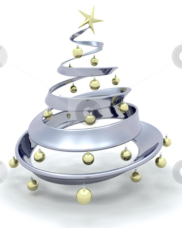 Christmas tree stock photo, Metallic style Christmas tree by Kirsty Pargeter