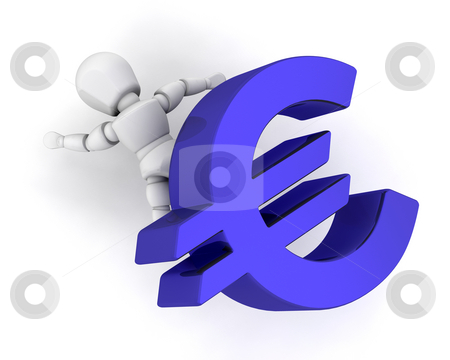 Financial pressure stock photo, Someone flattened by a Euro symbol by Kirsty Pargeter