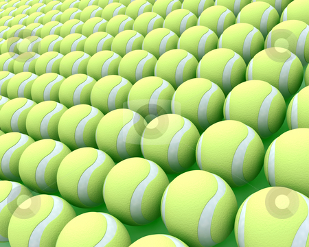 Tennis balls stock photo, 3d render of a large collection of tennis balls by Kirsty Pargeter