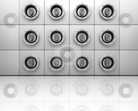 Music speakers stock photo, Wall of speakers by Kirsty Pargeter