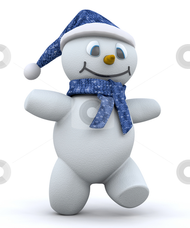 Happy snowman stock photo, 3D render of a happy snowman by Kirsty Pargeter