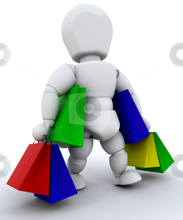 Person with shopping bags stock photo, Person with lots of shopping bags by Kirsty Pargeter