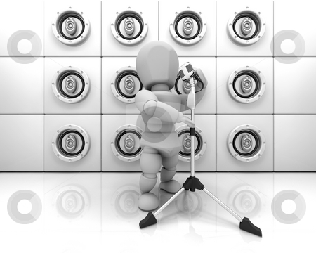 Person singing stock photo, Someone singing in front of a wall of speakers by Kirsty Pargeter