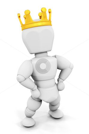 Person wearing a gold crowd stock photo, 3D render of someone wearing a gold crown by Kirsty Pargeter