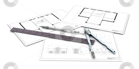 Architectural drawings stock photo, Architectural drawings with pen and ruler by Kirsty Pargeter