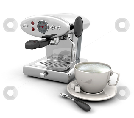 Coffee machine stock photo, 3D render of a contemporary coffee machine with cup of coffee by Kirsty Pargeter