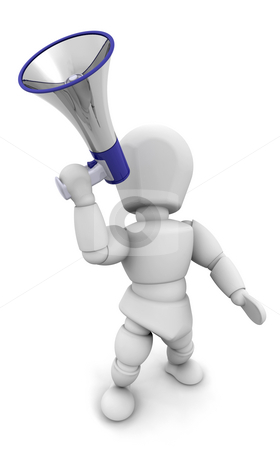 Person shouting in megaphone stock photo, 3D render of someone shouting in a megaphone by Kirsty Pargeter