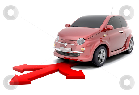 City car directions stock photo, 3d render of a small city car and arrows depicting options by Kirsty Pargeter