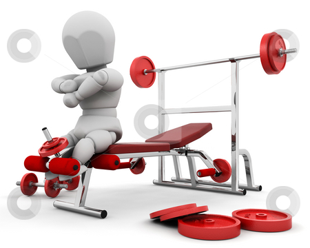 Keeping fit stock photo, 3D render of someone using gym equipment by Kirsty Pargeter