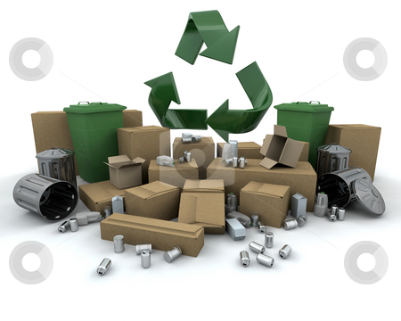 Recycling stock photo, Recycling icon amongst lots of stuff to recycle by Kirsty Pargeter